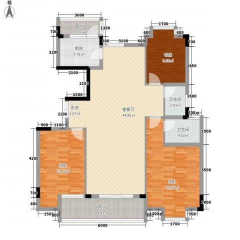 嘉美大厦3室1厅2卫1厨150.00㎡户型图