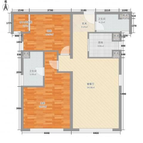 香梅花园五期2室1厅2卫1厨120.00㎡户型图