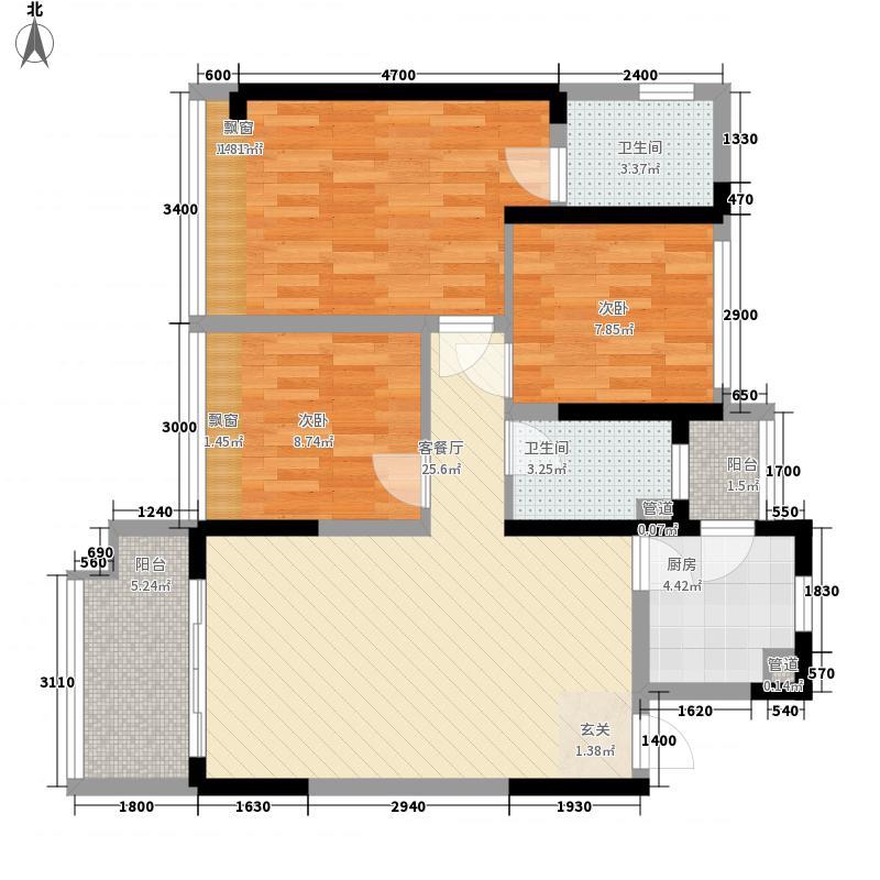 承翰陶源花园8.00㎡1E-1户型3室2厅1卫1厨