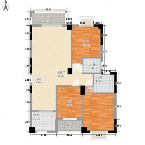 芸溪溪湖尚景3室1厅2卫1厨127.00㎡户型图