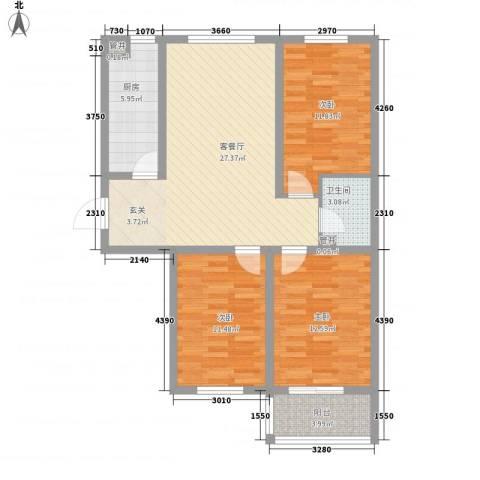 北里洋房3室1厅1卫1厨76.53㎡户型图