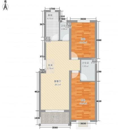 香水湾2室1厅2卫1厨66.68㎡户型图