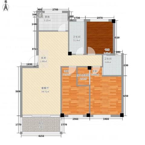 黄金海岸3室1厅2卫1厨128.00㎡户型图