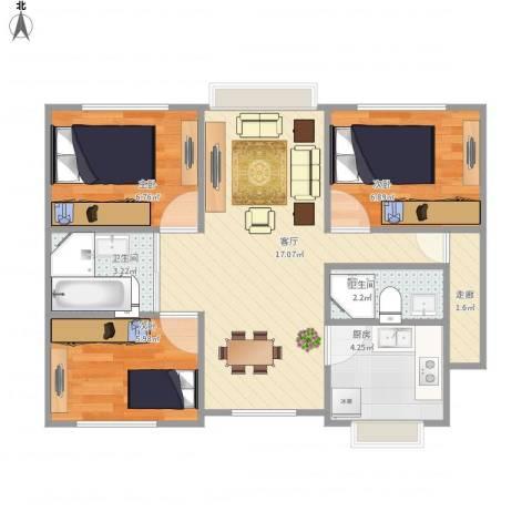新星宇和邑3室1厅2卫1厨66.00㎡户型图
