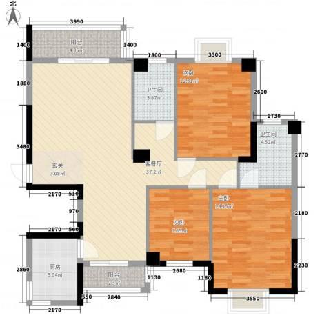芸溪溪湖尚景3室1厅2卫1厨131.00㎡户型图