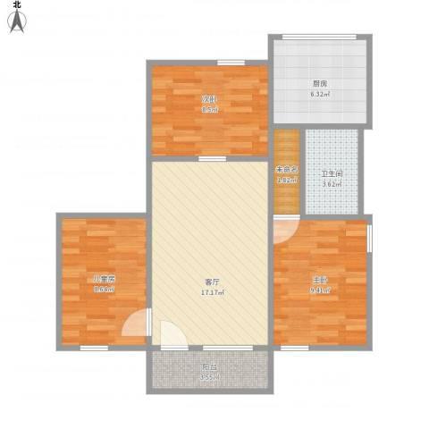 康乐园3室1厅1卫1厨82.00㎡户型图