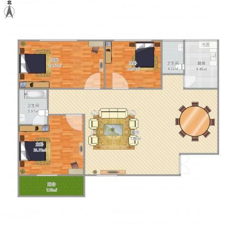 幸运小区-162平-3居室3室1厅2卫1厨213.00㎡户型图