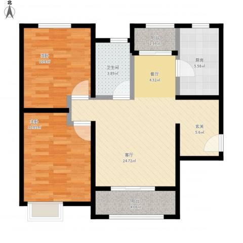 奥克斯盛世年华2室1厅1卫1厨90.00㎡户型图