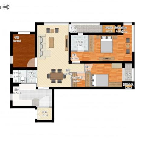 万科金域华府3室1厅4卫1厨120.00㎡户型图