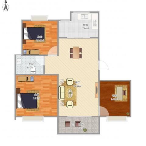 天润城3室1厅1卫1厨111.00㎡户型图