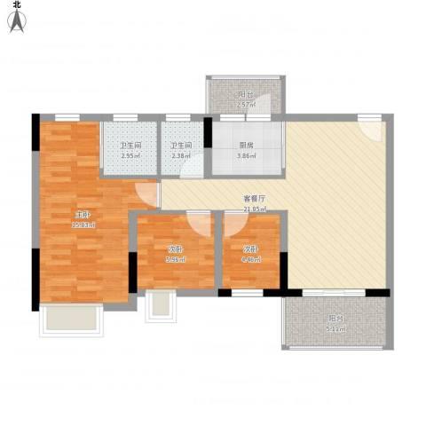 丽景花园三期3室1厅2卫1厨92.00㎡户型图