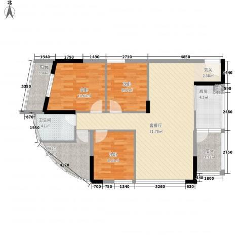 景茂国际3室1厅1卫1厨118.00㎡户型图