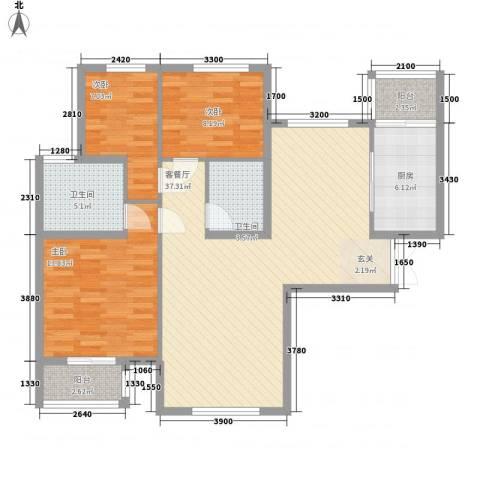文鼎轩3室1厅2卫1厨86.12㎡户型图