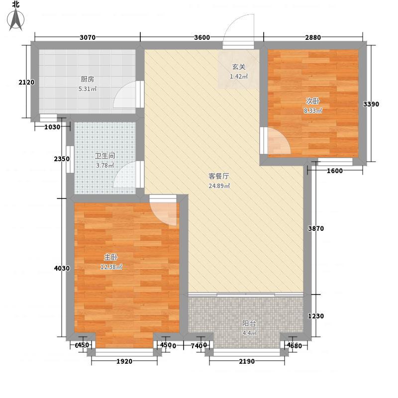 国都名城82.60㎡二期21#边户D8户型2室2厅1卫1厨