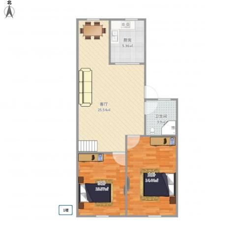 东园小区2室1厅1卫1厨81.00㎡户型图