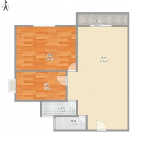 加洲花园2室1厅1卫1厨68.00㎡户型图