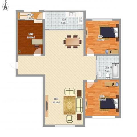 新星宇和邑3室1厅1卫1厨154.00㎡户型图