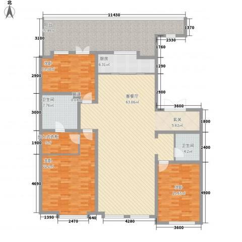 万晟清华园3室1厅2卫1厨228.00㎡户型图