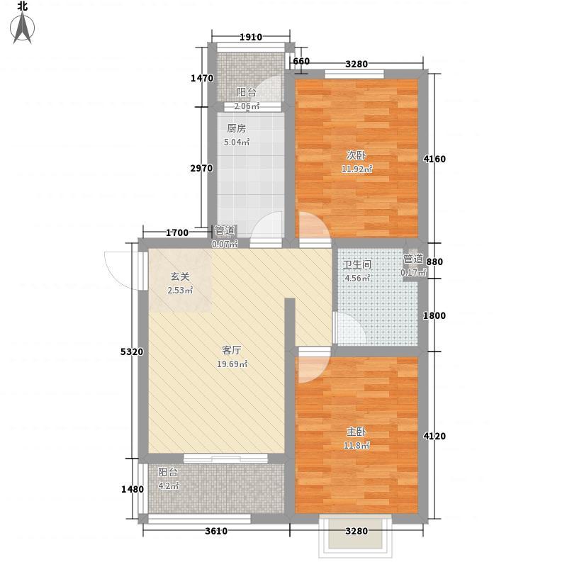 石铜府87.18㎡1号楼标准层D户型2室2厅1卫1厨