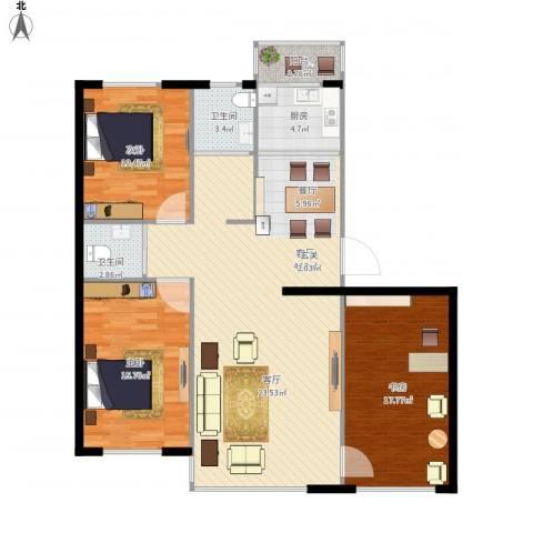 新星宇和邑3室1厅2卫1厨142.00㎡户型图