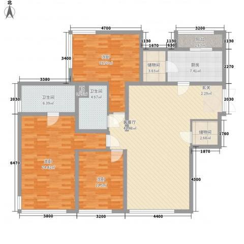 金地花园3室1厅2卫1厨172.00㎡户型图