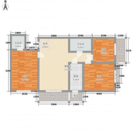 宏盛花园3室1厅2卫1厨128.00㎡户型图