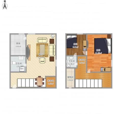 上榀坐2室1厅2卫1厨79.00㎡户型图