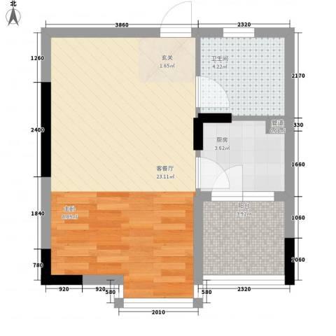安泰大厦1厅1卫1厨45.00㎡户型图