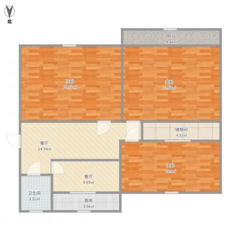 燕山小区北区11号楼3室2厅1卫1厨134.00㎡户型图