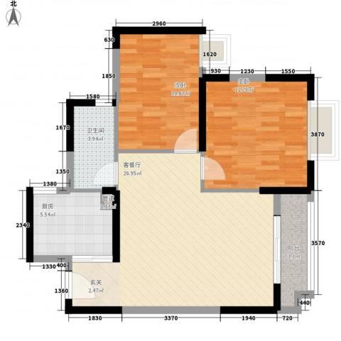 阳光四季2室1厅1卫1厨90.00㎡户型图