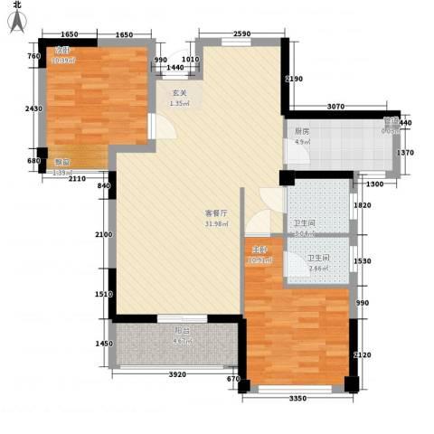禾祥西轮船厂宿舍2室1厅2卫1厨97.00㎡户型图