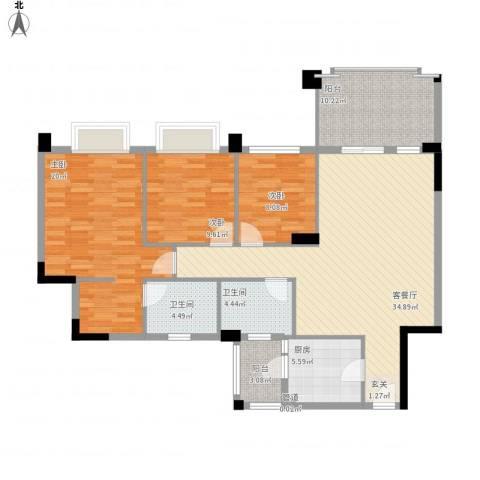 金华花园3室1厅2卫1厨141.00㎡户型图
