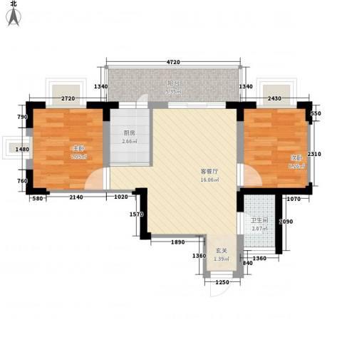 文苑小区2室1厅1卫1厨58.00㎡户型图