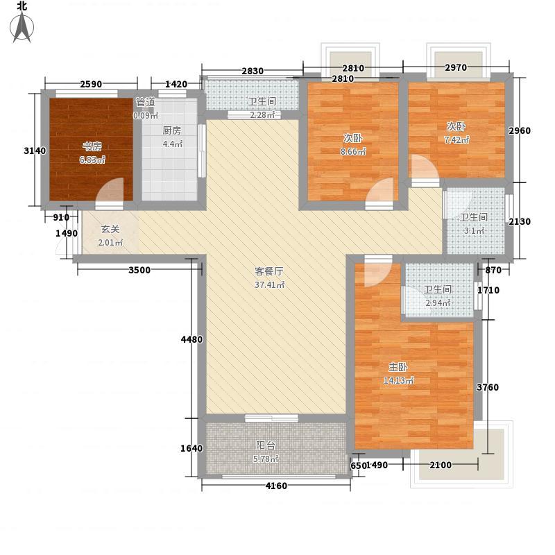 �园134.54㎡C1户型3室2厅2卫1厨