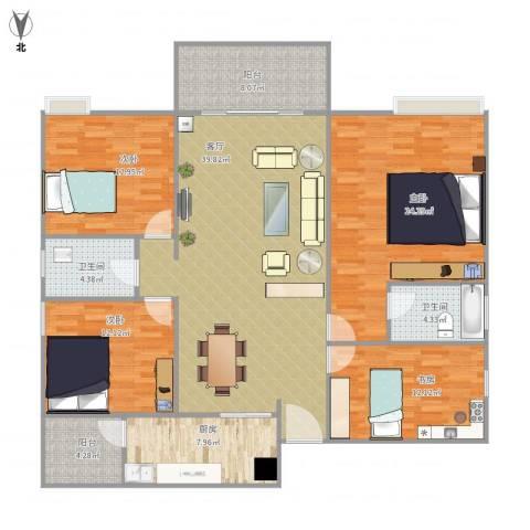 远洋城荣域4室1厅2卫1厨175.00㎡户型图