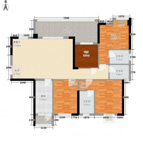 东泰花园4室1厅3卫1厨141.00㎡户型图