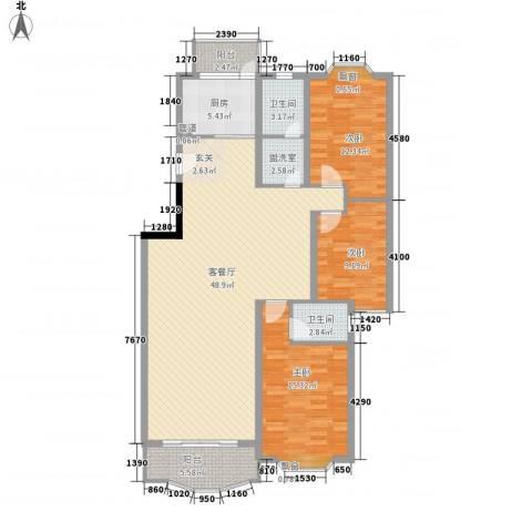 齐鲁骏园3室2厅2卫1厨151.00㎡户型图