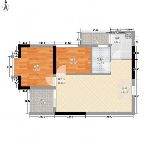 安泰大厦2室1厅1卫1厨64.00㎡户型图