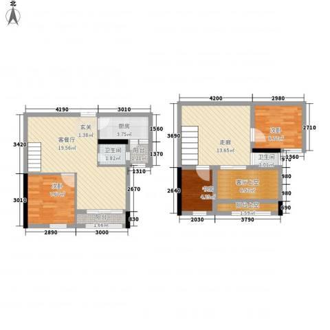 云天锦绣前程3室1厅2卫1厨82.20㎡户型图