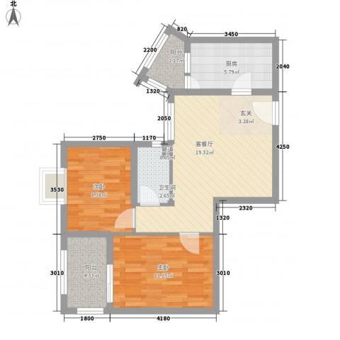 云天锦绣前程2室1厅1卫1厨62.64㎡户型图