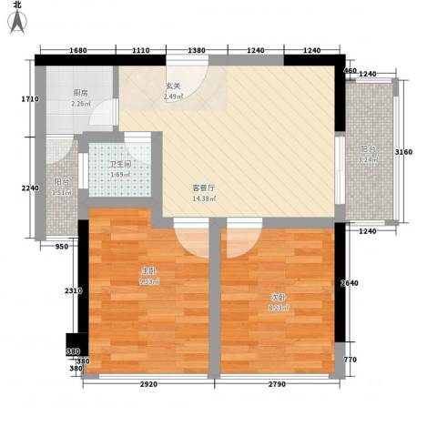 IP箐英时代2室1厅1卫1厨60.00㎡户型图