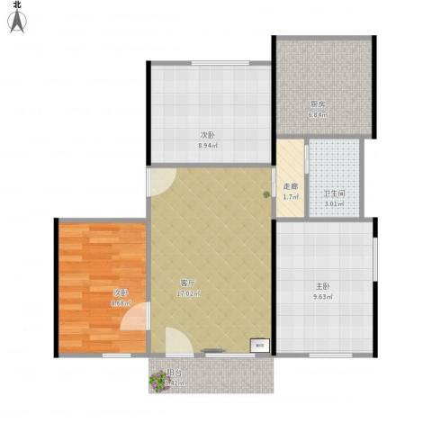 康乐园3室1厅1卫1厨76.00㎡户型图