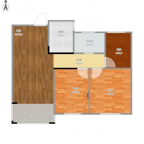 湖东邻里中心3室1厅1卫1厨98.00㎡户型图