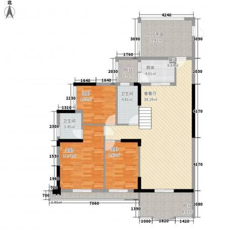 安泰大厦3室1厅2卫1厨109.89㎡户型图