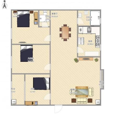 美好家园3室1厅2卫1厨164.00㎡户型图