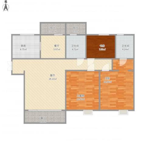 万达华府3室2厅2卫1厨133.00㎡户型图