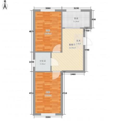 金都嘉园2室1厅1卫1厨52.90㎡户型图