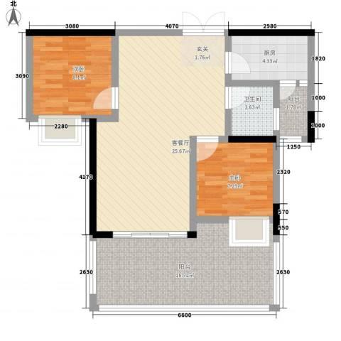 紫晖阁2室1厅1卫1厨96.00㎡户型图