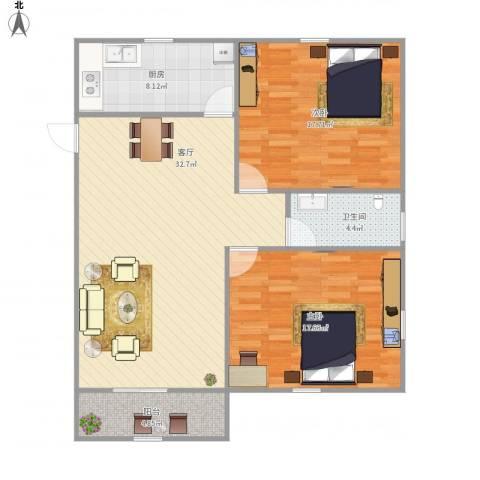 荷花苑2室1厅1卫1厨114.00㎡户型图