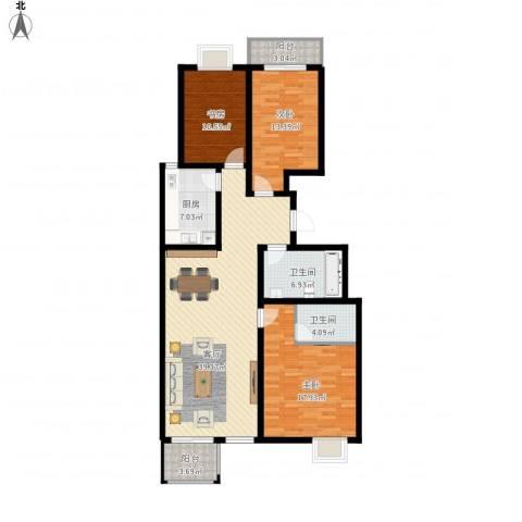胜景天地3室1厅2卫1厨151.00㎡户型图